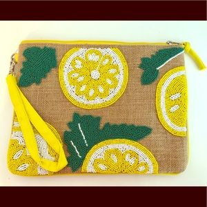 Lemon Slice Beaded Clutch